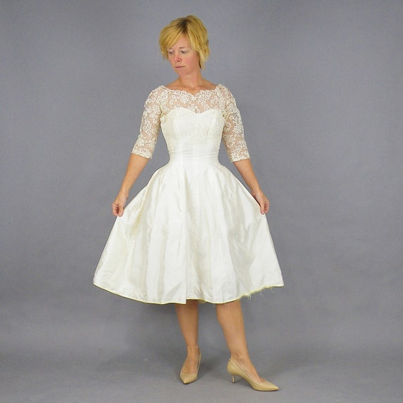 Rockabilly Wedding Gown: 1950s Prom Dress Rockabilly Wedding Dress Vintage 50s Tea