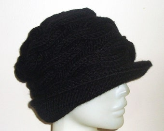 Hand knit hat for women's hat with brim winter hat in black - Valentine's gift for women
