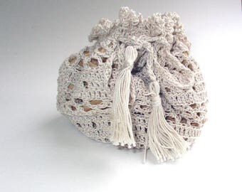 Vintage Style Crochet Pouch Antique White with Gold Lining, Drawstring Crochet with Tassel Ties