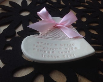 Pink mother father of the bride ring plate keeper thank you ceramic heart gift