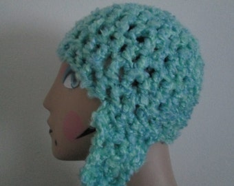 6 Months - Teen Blue Earflap Hat Crocheted by SuzannesStitches, Teen Earflap Hat, Toddler Earflap Hat, Childrens Earflap Hat, Green Hat