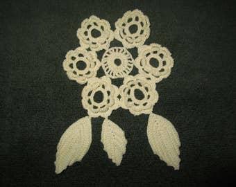 Off White Applique, Craft Supplies, Cotton Crochet Applique, Crocheted Applique, Handmade Applique, Needlecraft Applique, Applique Crocheted