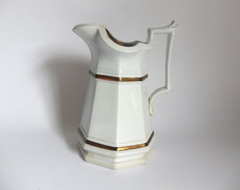Antique c. 1845 - 1865 Edward Walley English Ironstone Pottery Pitcher with Copper Accents - 1800's English Victorian Decor