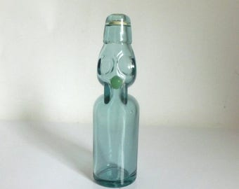 Vintage Stylized Glass Fish Bottle with Glass Marble Inside