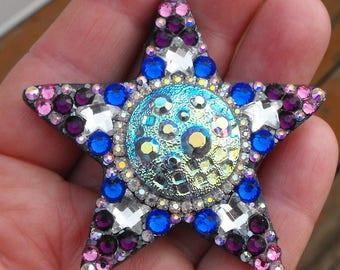 La Luna, czech glass star, crystal star, star pendant, aurora borealis, heavenly, angel, celestial, moon, stars, night sky, gems, sparkle