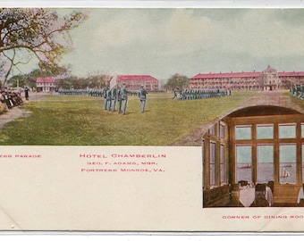 Dress Parade Fortress Monroe Hotel Chamberlin Virginia  1910c postcard