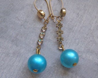 Vintage Dangle Earrings, BLue Bead Earrings, Rhinestone Earrings, Linear Earrings, Teal Blue Jewelry