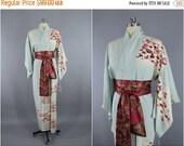 SALE - 1950s Vintage Silk Kimono Robe / 1960s Silk / Wedding Dressing Gown Lingerie / Downton Abbey Art Deco / Light Blue & Red Floral