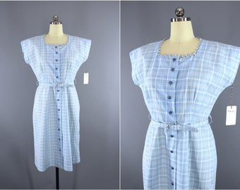 Vintage 1950s Dress / 50s Smart Setter Day Dress / Sky Blue Plaid Checkered Cotton Dress
