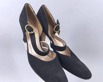 SALE - Vintage 1960s Shoes / Rosina Ferragamo Schiavone / 60s Black Suede Heels