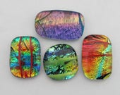 Four Variegated Tie-dye Free-form Dichroic Cabochons