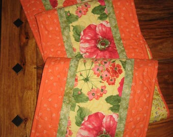 "Easter Table Runner, Large Red Peach Poppies, Quilted Reversible 13 x 70"" 100% cotton fabrics"