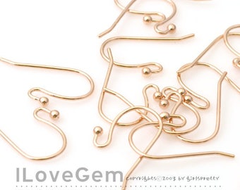 NP-1392 Rose Gold, Earwires, Earhooks, 20mm fishhook with ball, Earrings, Ball hooks, 20pcs