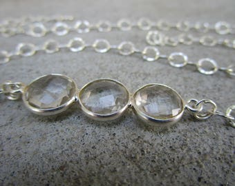 Triple Quartz Crystal Sterling Silver Chunky Necklace