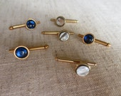 Vintage assorted gold tone metal shirt studs. Lot of 6.