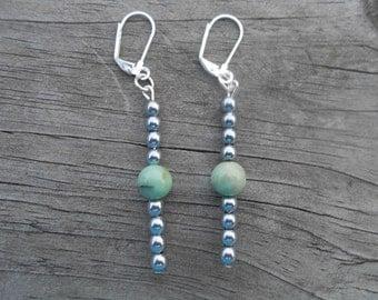 Natural Emerald and Hematite Dangle Earrings