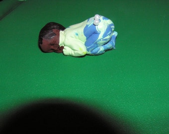 Polymer clay baby , boy, hand painted hair , OOAK Sculpt, Signed and numbered, dollhouse baby, Collecting