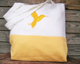 White and Yellow Linen  Embroidered tote bag Totes Canvas tote bag Shopping bag Beach bag, Handmade bag, Embroidered purse, Bags and purses