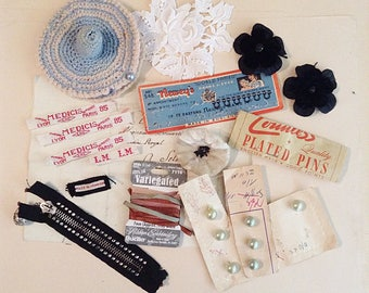 Vintage Collection of Sewing Notions and Supplies - For Craft or Display - Antique Sewing and Altered art Supplies