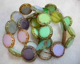 10 16mm Czech Glass Pastel Opaque and Transparent Mix 2 Picasso Table Cut Coin Beads