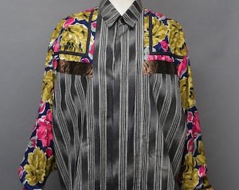 80s KOOS Van Den AKKER appliqué print art to wear oversize tunic top mini dress BLOUSE med vintage 1980s