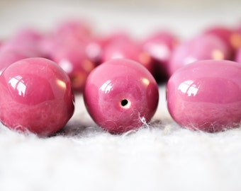 Three (3) Dusty Rose Pink Kazuri Beads - Fair Trade Beads - Ethical Supplies - African Beads - Kenyan Beads - Large Beads - Loose Beads