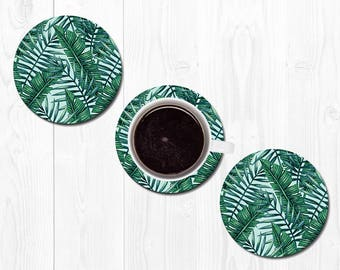 Housewarming Gift Coaster Coasters for Drinks Leaf Leaves Hostess Gift New Home Gift Banana Leaf Coasters Tropical Coasters Home Decor