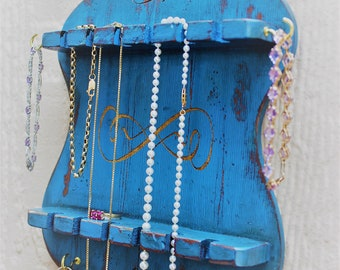 Wall Jewelry Hanger - Hanging Jewelry Storage - Wood - Laser - Ring Holder - Jewelry Holder - Up-Cycled