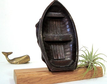 Bronze Boat Desk Accessory Vintage Paperweight Office Decor