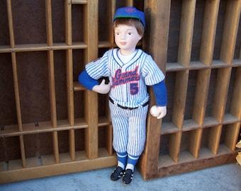 Vintage Avon Baseball Player Grand Slammer Cloth and Porcelain Doll 1991