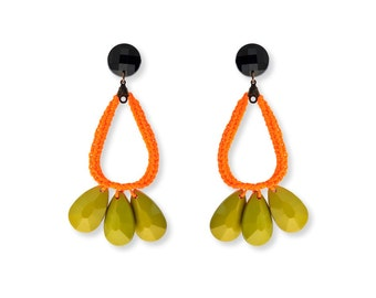 Colorful Summer Earrings, Greenery Statement Earrings, Large Drop Boho earrings, Orange and green
