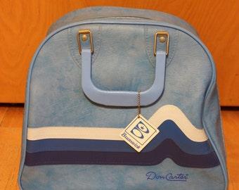 Vintage Retro Blue White Stripe Don Carter Brunswick Tag Bowling Bag