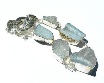 Aquamarine Druzy Necklace / Sterling Silver / Artisan Clasp / Wire Wrapped / Irregular Shapes / Drusy / Light Blue / Gifts for Her / OOAK