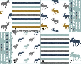 Custom Rustic Buck Crib Bedding, Moose Crib Bedding, Elk Bedding Set, Crib Bumper Set, Crib Rail Guard Set, Nursery Bedding, Gray, Blue