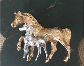Mare and Colt, Horses, Sculptural Pin Brooch, Two Tone Metal, Figural Mother and Child, Vintage