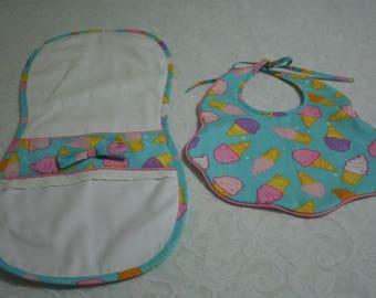 Ice Cream Cone Bib and Burp Cloth Set