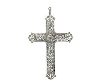 30% Off Winter Sale Edwardian diamond cross pendant 18k white gold old European cut diamonds ca.1915