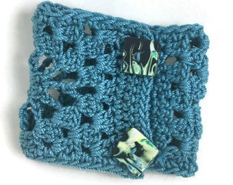 Teal blue crochet cuff bracelet with unique button closures