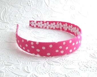 Girls Pink Fabric Covered Headband ~ Hot Pink White Polka Dot Fabric Girls Headband ~ Plastic Headband ~ Girls, Adults, Women