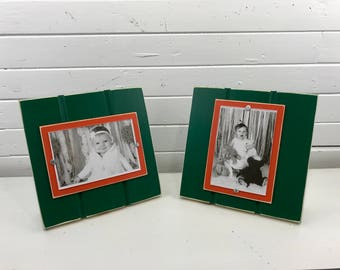 "Green and orange stand up picture frame holds one 4""x 6"" photo University of Miami/Hurricanes/the U"