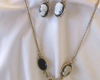 Vintage Van Dell 12 Gold Filled Cameo Necklace and Earring set