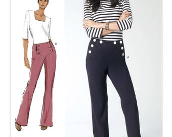 "All Sizes/Hip 34 1/2"" - 57"" - Vogue Pants Pattern V1464 - Today's Fit by SANDRA BETZINA - Misses' Button-Detail Sailor Pants"