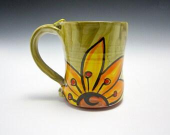 Ceramic Coffee Mug - Pottery Coffee Mug - Valentine Gift for Her - Pottery Mug - Yellow Orange Sunflower - Majolica - Green - 15 ounces oz