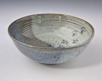 Paw Print Water Bowl - Pet Feeding Bowl - Stoneware Shallow Dish - Handmade Cat Dog Dish - Blue Green Ceramic Pottery - Girlfriend Pet Gift