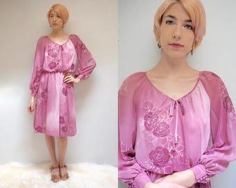 Chiffon Party Dress  //   Long Sleeve Midi Dress // Long Sleeve Chiffon Dress // Mauve Party Dress // DUSTY ROSE