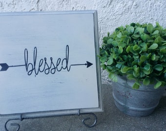 Wood Sign, Blessed, Painted Wooden Decor, Square Sign in Antiqued Black and Cream, Great for Housewarming, Entry Way, Nursery, Home decor