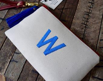 Chicago Cubs Wristlet, Cubs wristlet, Chicago Cubs Embroidered Bag, W Bag