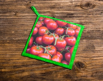 Red Tomatoes at Farmers Market Photo Pot Holder, Hot Pad, Handmade
