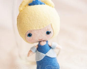 "Cinderella Princess 5.5"" Felt Doll - Made to Order - Handmade Miniature Doll - Fairy Tale Doll - Princess Doll - Gingermelon Doll"