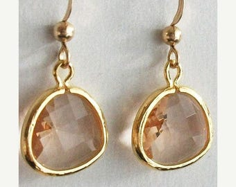 SALE 20% OFF Peach earrings, Glass earrings, Champaigne earrings, Gold Earrings, for Mom, Sister, Her, Bridesmaids, Christmas
